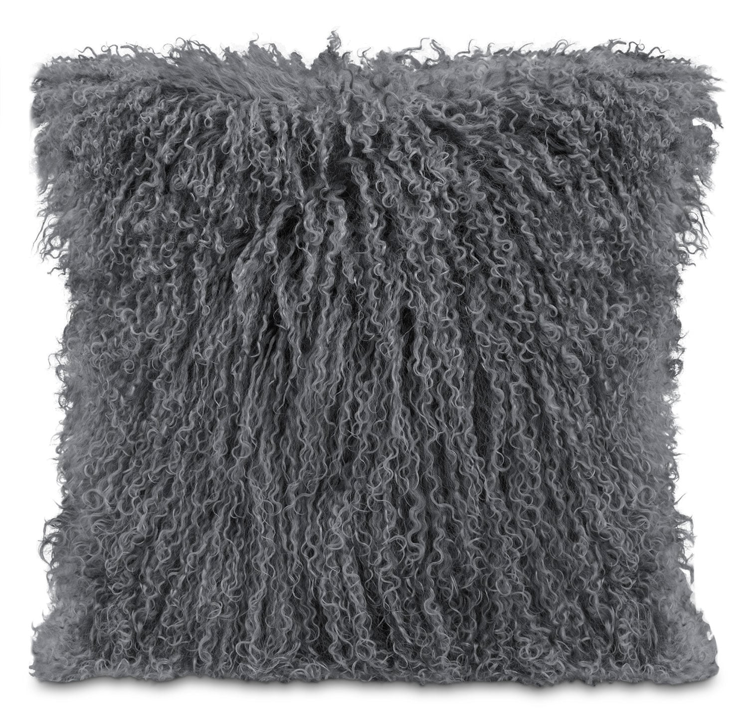 Mongolian Sheepskin Accent Pillow – Grey