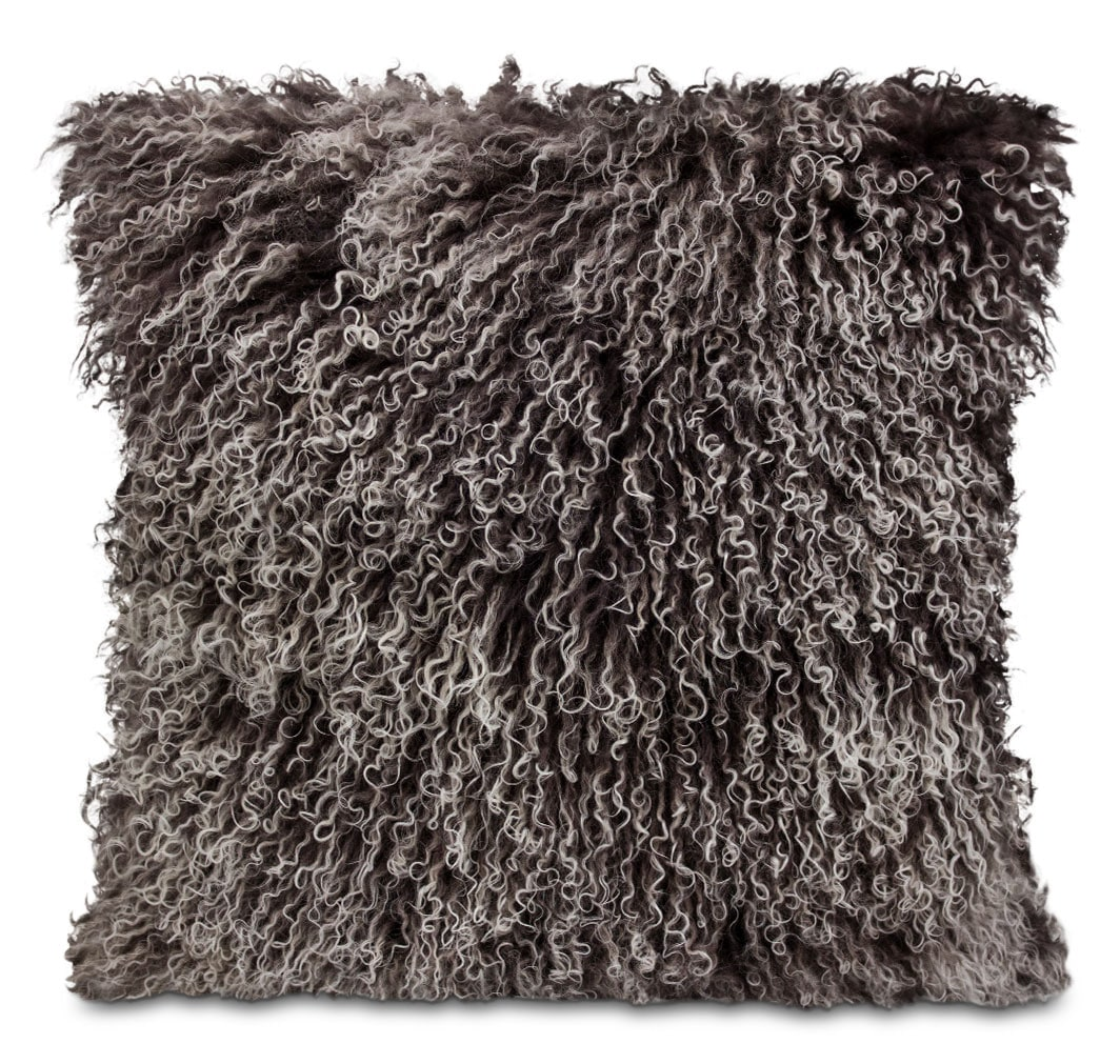 Accent and Occasional Furniture - Mongolian Sheepskin Accent Pillow – Dip Dye Grey