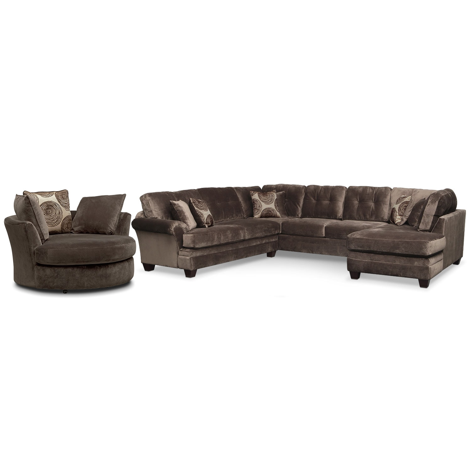 Cordelle 3 Piece Sectional And Swivel Chair Set
