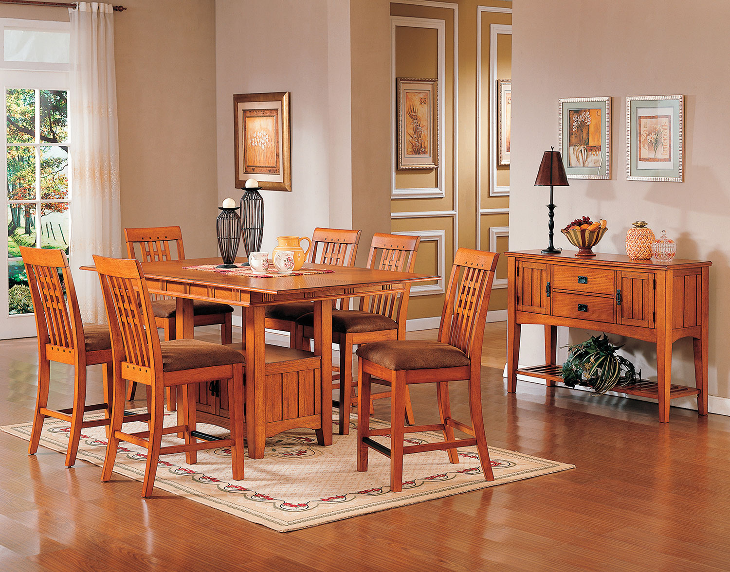 Dining Room Furniture - Oak Park Counter-Height Table and Four Stools - Oak