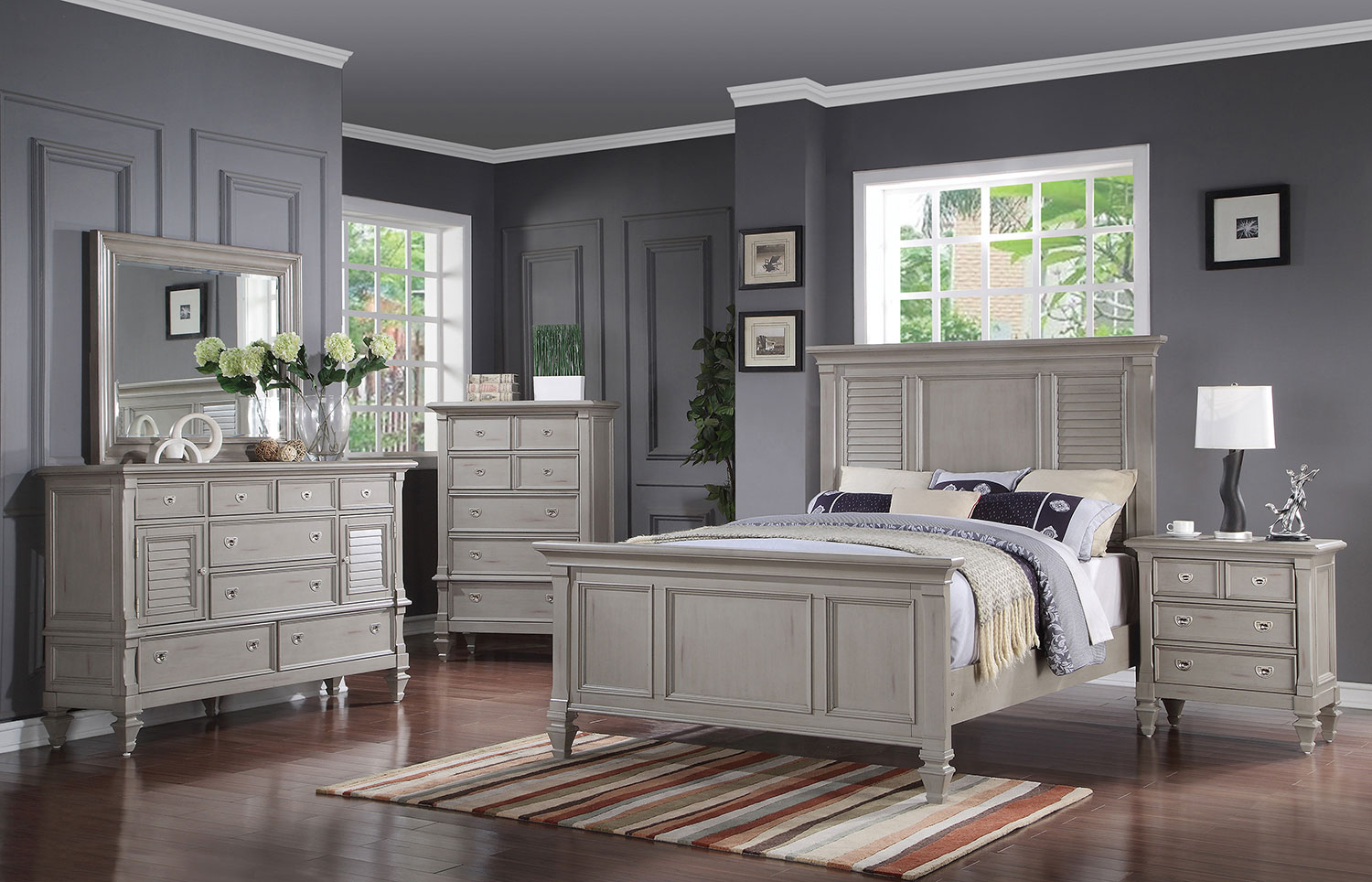 brimley 4 piece queen bedroom set grey levin furniture. Black Bedroom Furniture Sets. Home Design Ideas