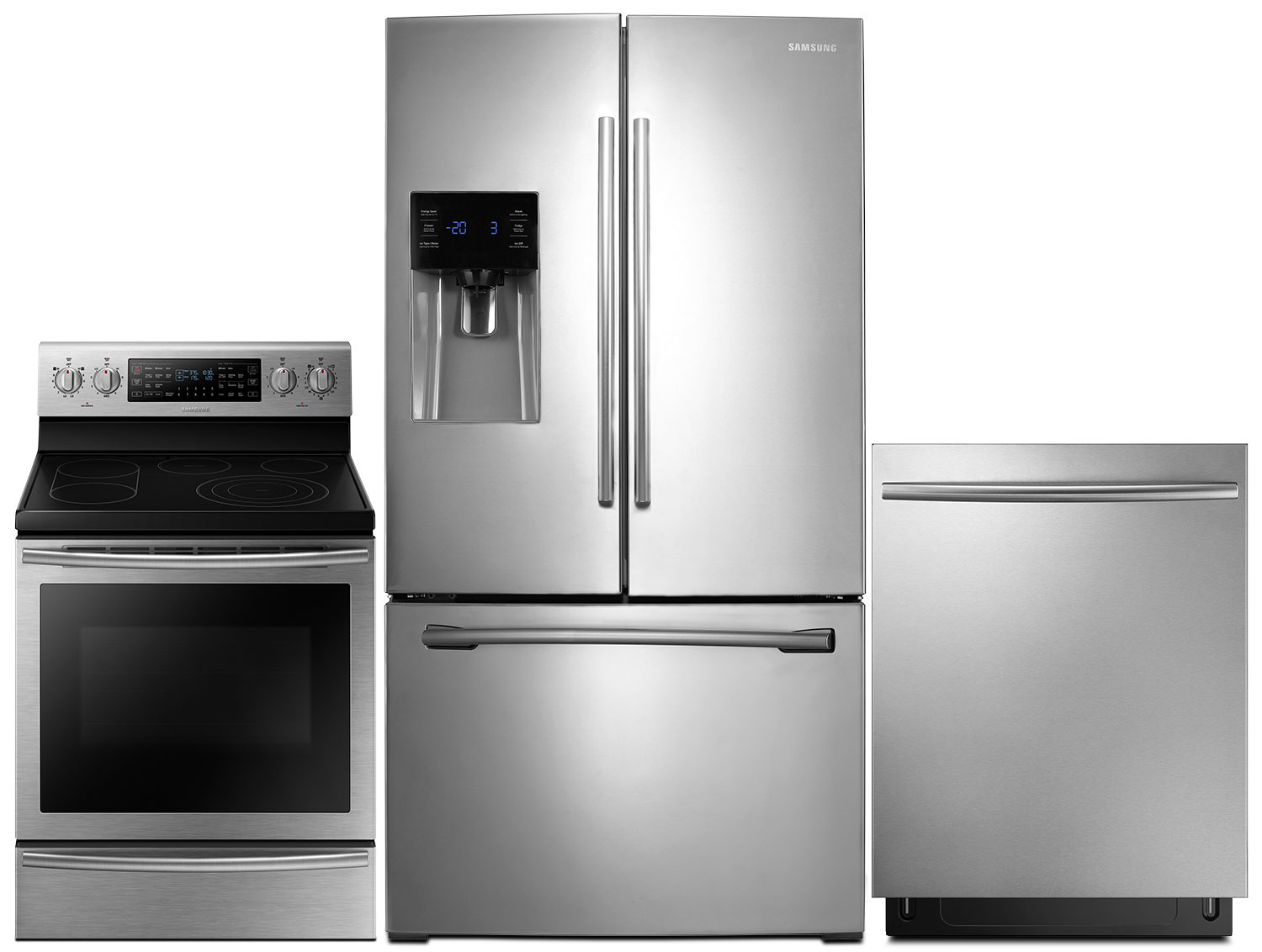 Samsung 26 Cu. Ft. Refrigerator, 5.9 Cu. Ft. Range and Dishwasher – Stainless Steel
