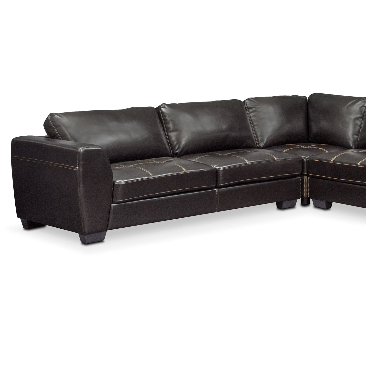 Santana 4 piece sectional with right facing chaise black for Black sectional with chaise