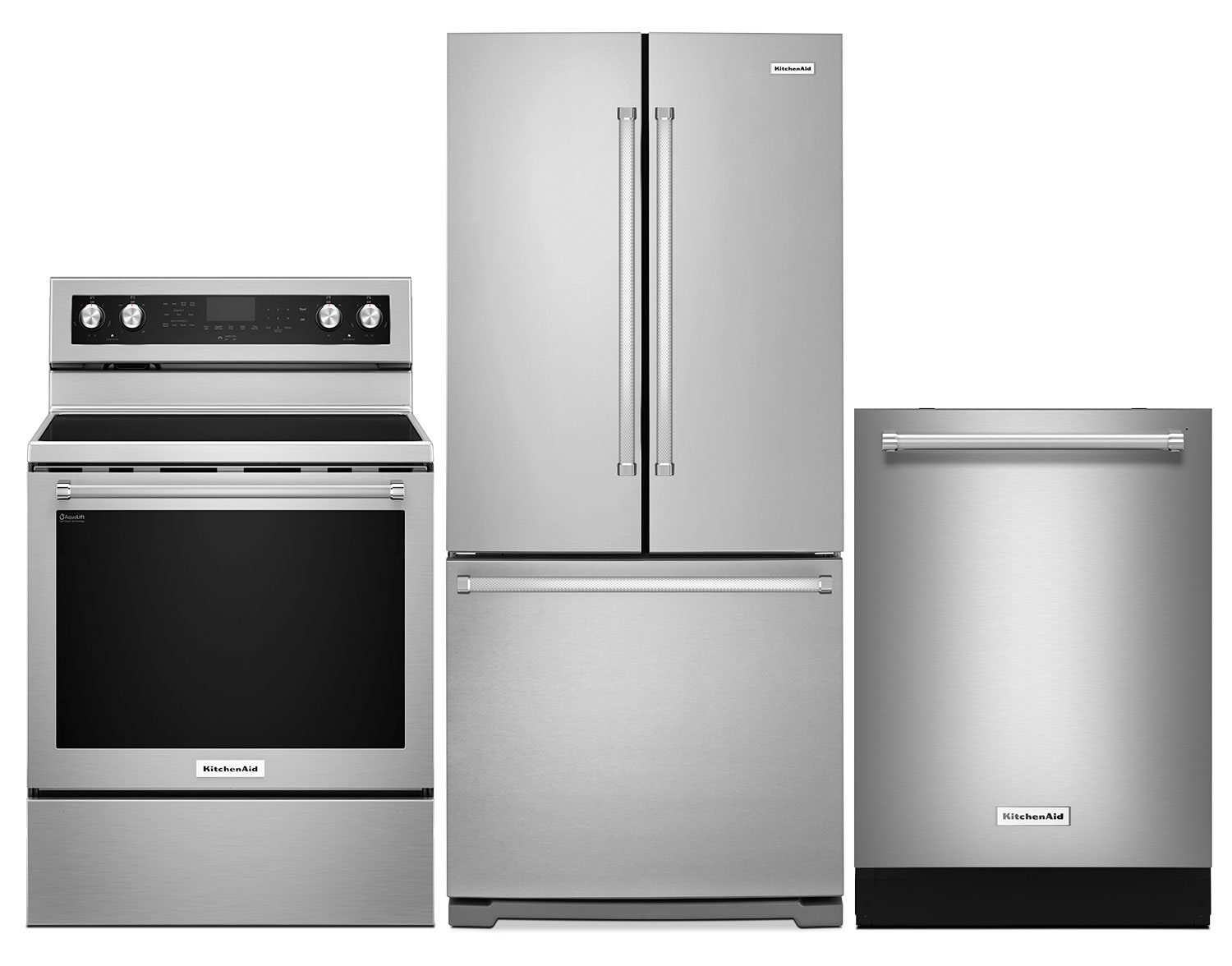 Cooking Products - KitchenAid 19.7 Cu. Ft. Refrigerator, 6.4 Cu. Ft. Range and Dishwasher – Stainless Steel