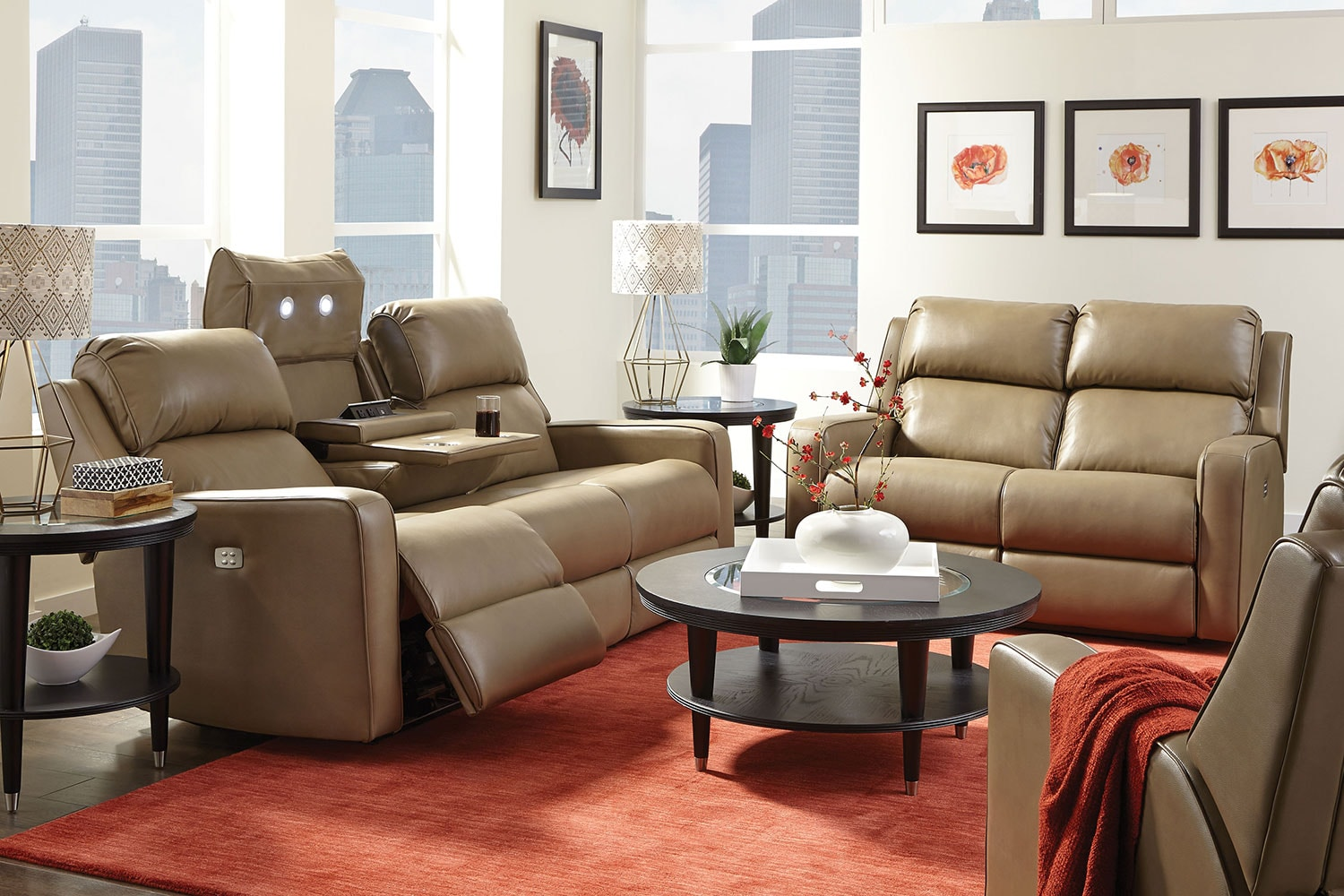 Escalade power reclining loveseat sand levin furniture for Levin furniture living room sets