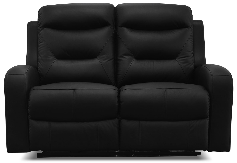 Living Room Furniture - River Genuine Leather Power Reclining Loveseat – Black