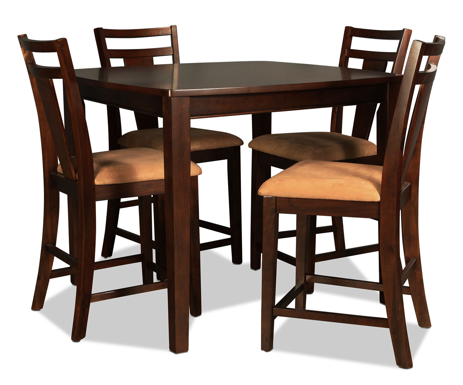 Echo counter height table and 4 stools merlot levin for Table and bar stools