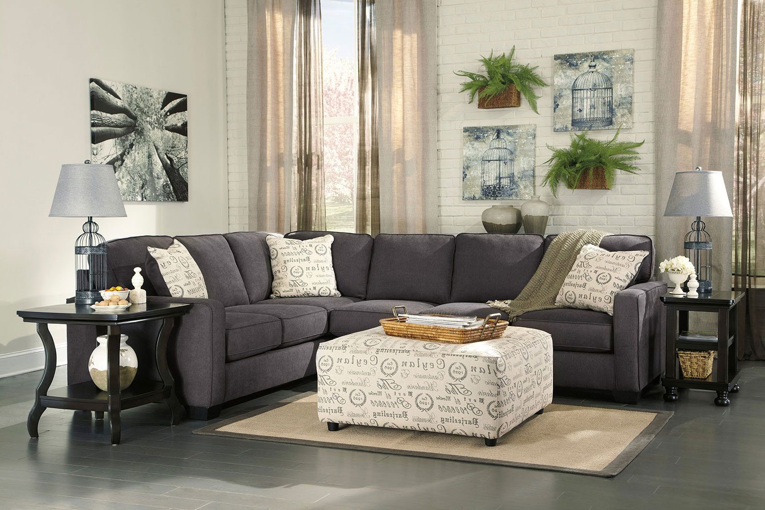 Serena 2 Piece Right Facing Sectional Charcoal Levin