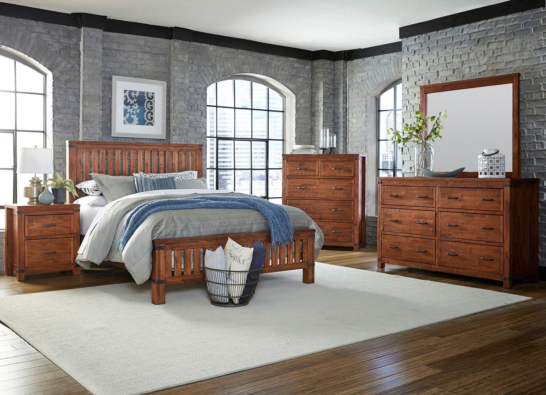 Bedroom Furniture - Everett 4-Piece King Bedroom Set - Weathered Natural