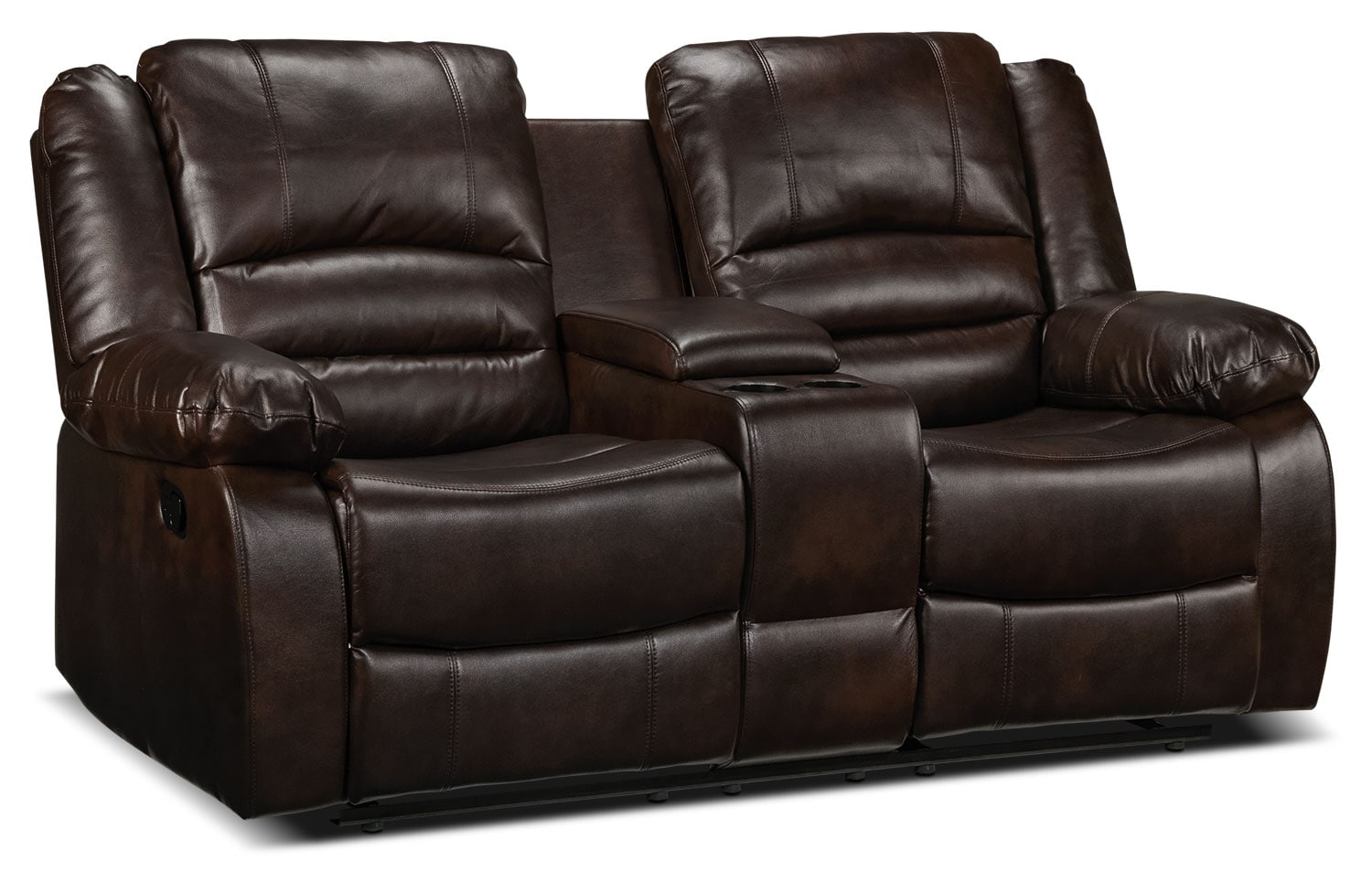 Living Room Furniture - Brooksdale Reclining Loveseat w/ Console - Deep Brown