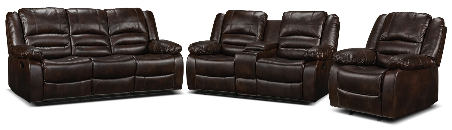 Brooksdale Reclining Sofa, Reclining Loveseat and Rocker Recliner Set - Deep Brown