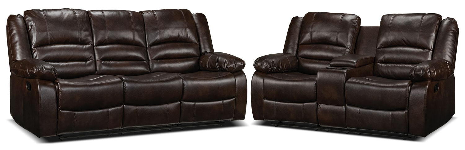 Brooksdale Reclining Sofa and Reclining Loveseat Set - Deep Brown
