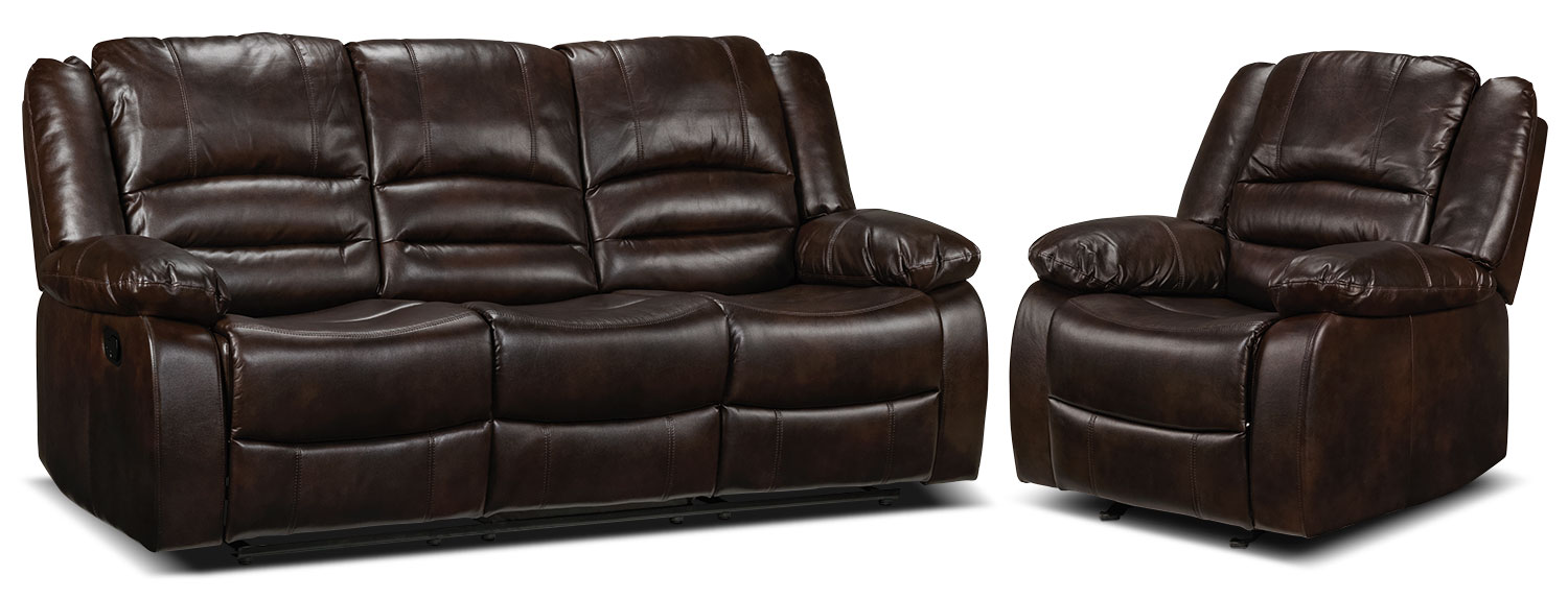 Brooksdale Reclining Sofa and Rocker Recliner - Deep Brown