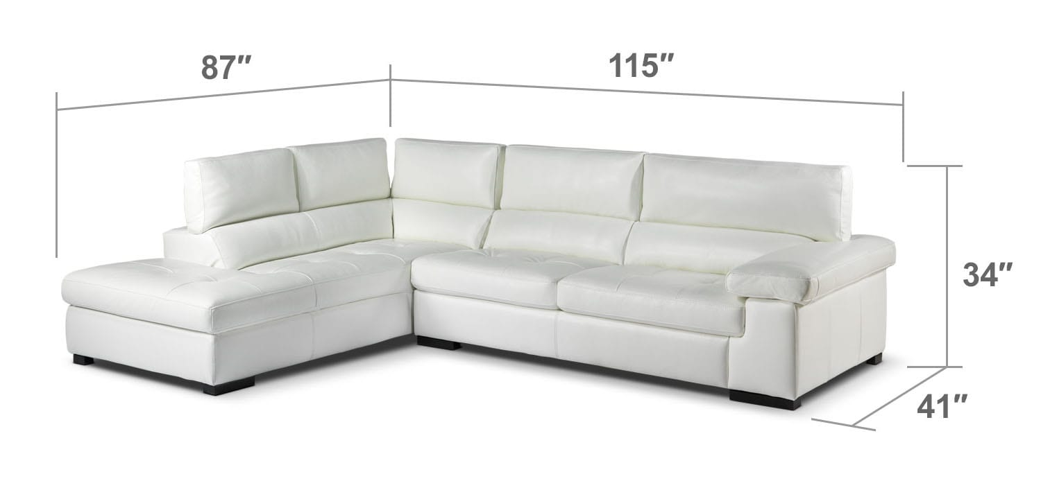 Living Room Furniture - Underwood 2-Piece Left-Facing Sectional - White