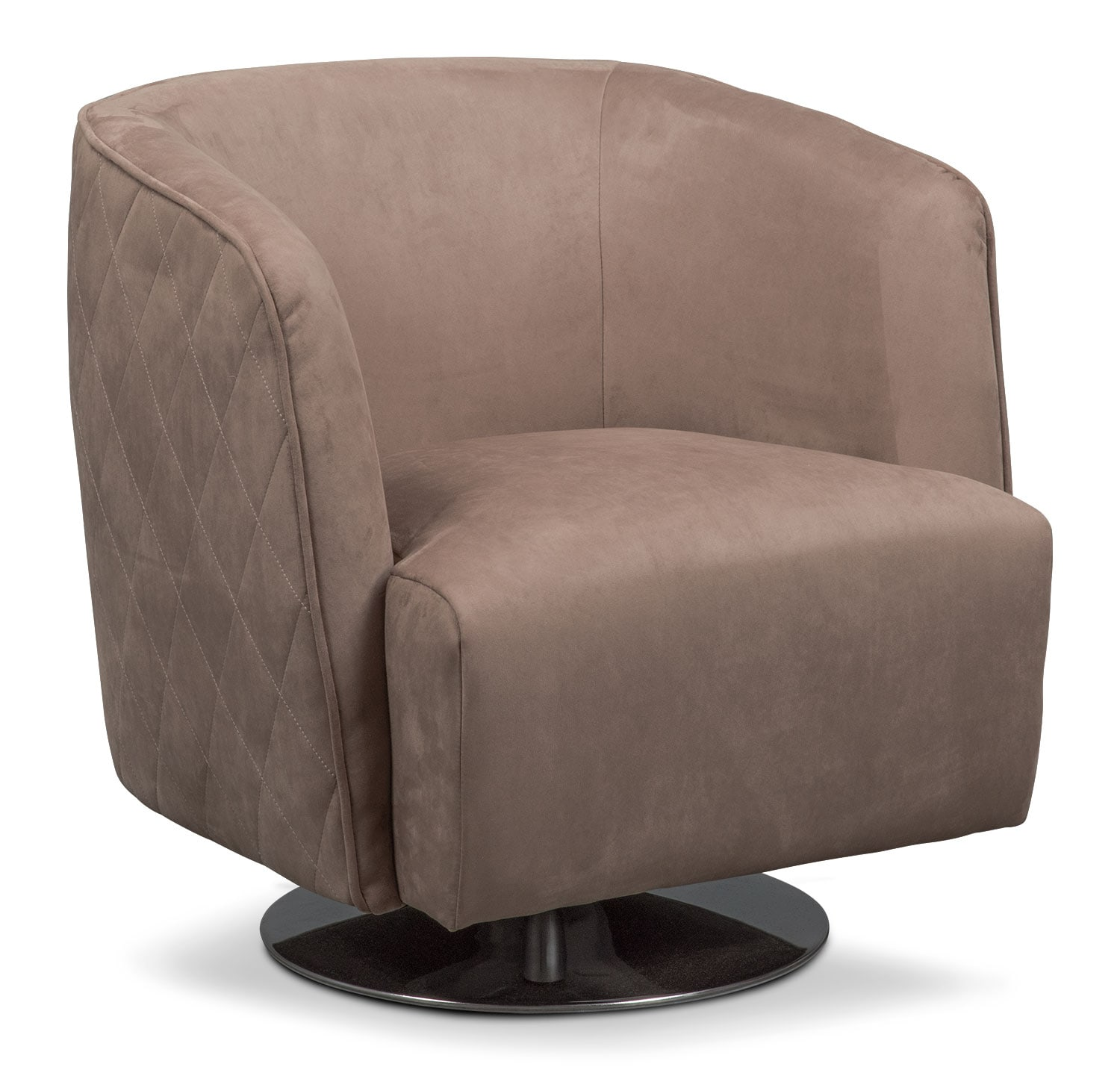Santana swivel chair taupe value city furniture for Swivel chairs