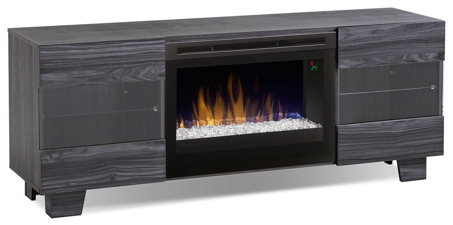 "Entertainment Furniture - Max 62"" TV Stand with Glass Ember Firebox – Carbon"