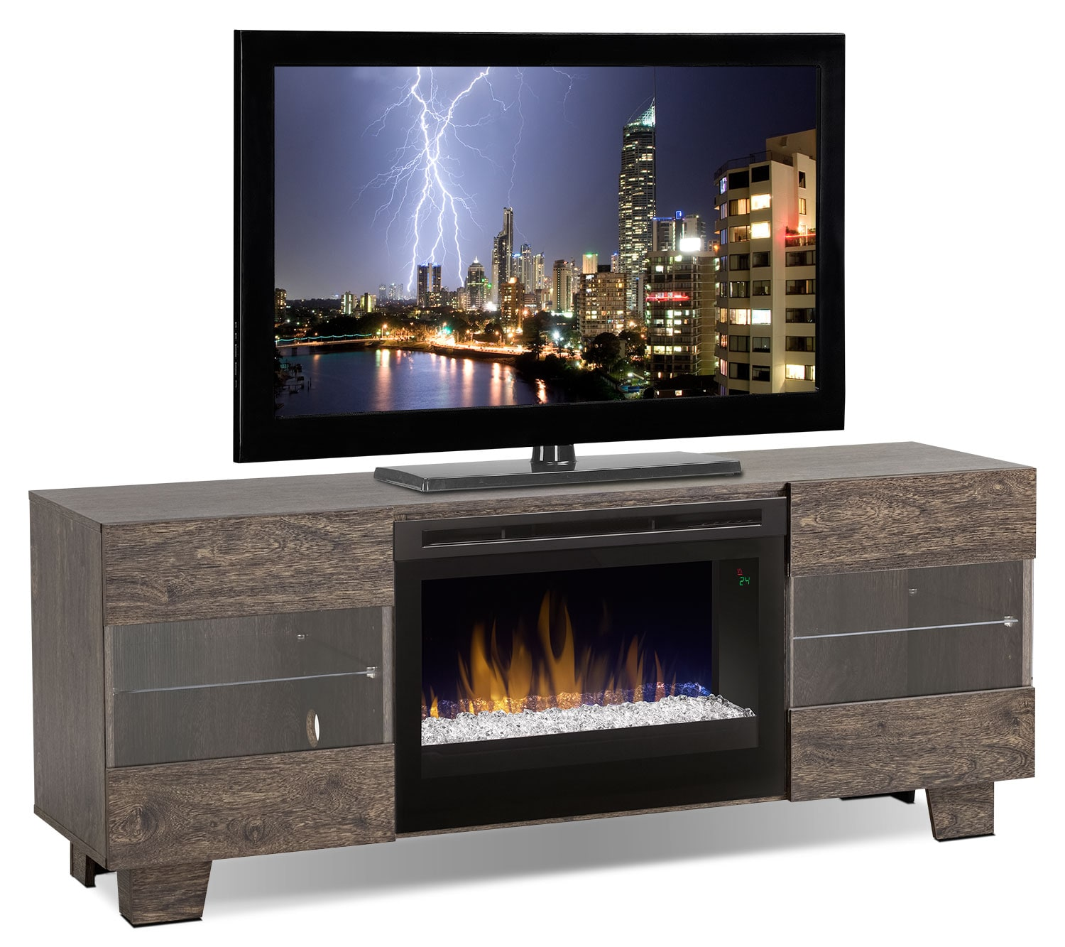 Max 62 Tv Stand With Glass Ember Firebox Elm Brown The Brick
