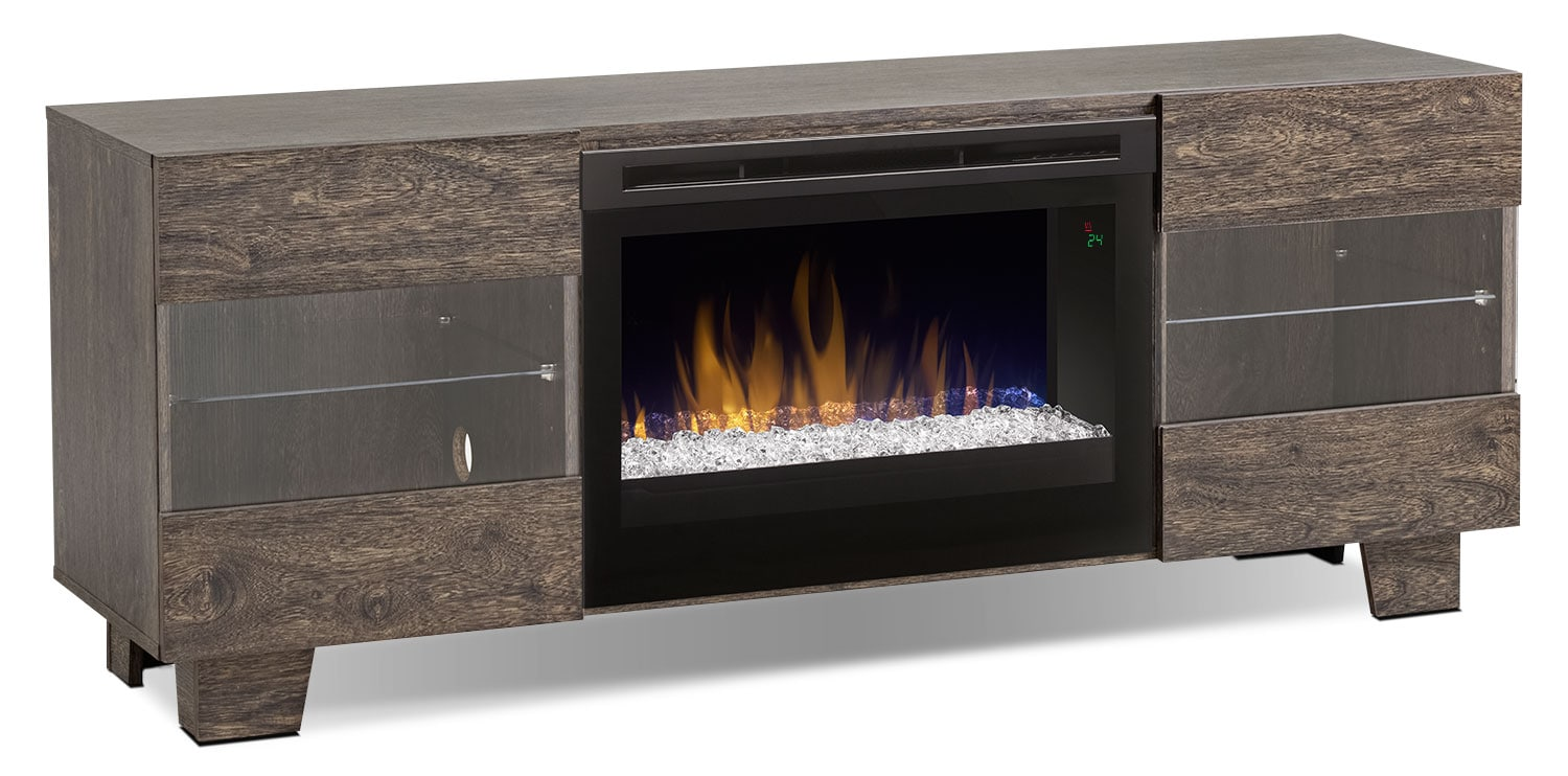 "Max 62"" TV Stand with Glass Ember Firebox – Elm Brown"