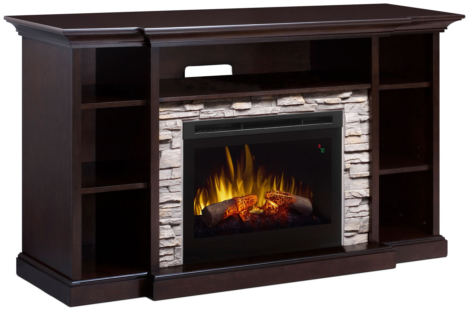 "Entertainment Furniture - Courtyard 64"" TV Stand with Log Firebox"