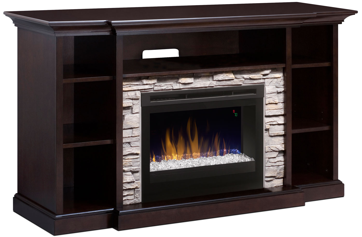 "Courtyard 64"" TV Stand with Glass Ember Firebox"