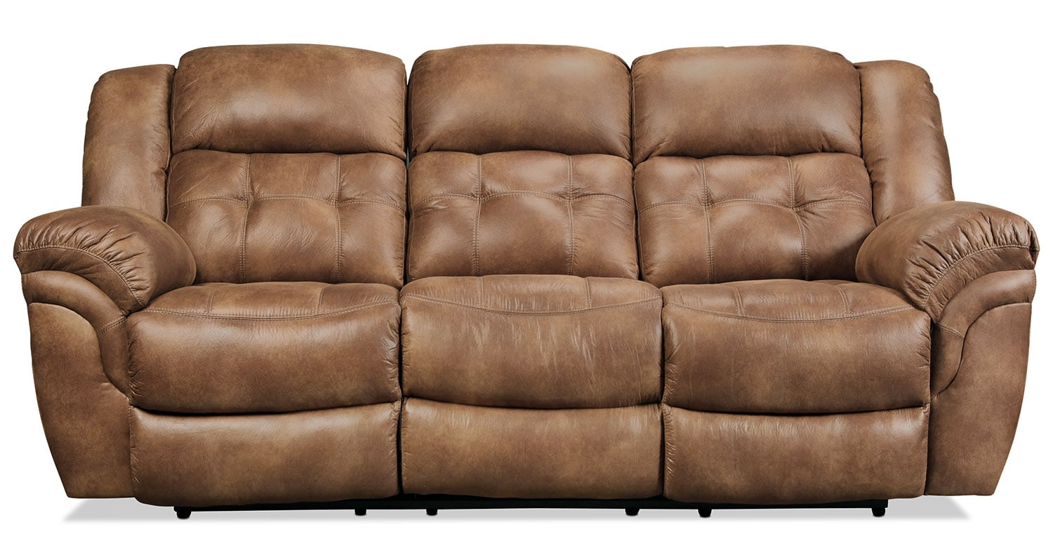 Living Room Furniture - Quinn Reclining Sofa - Almond