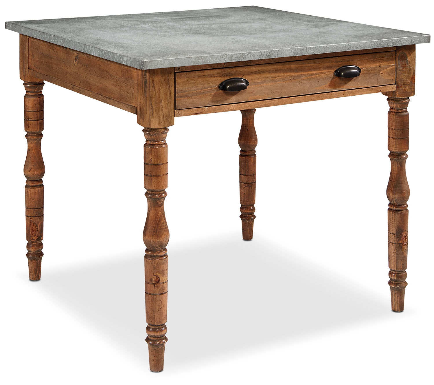 Taper Turned Gathering Table With Zinc Top Bench Value