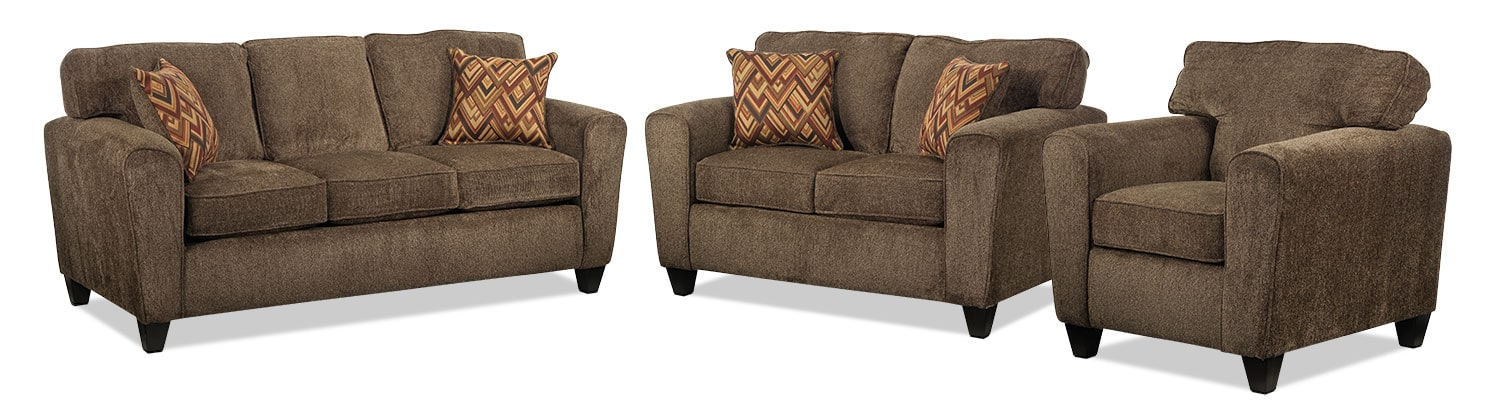 Cornell Sofa, Loveseat and Chair Set - Brown