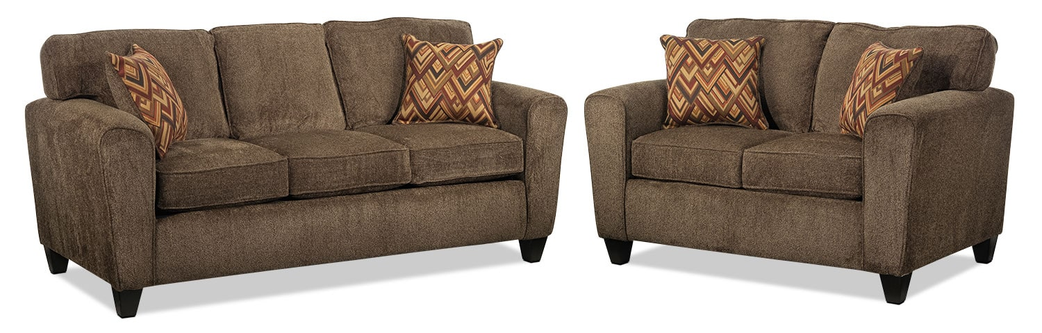 Cornell Sofa and Loveseat - Brown