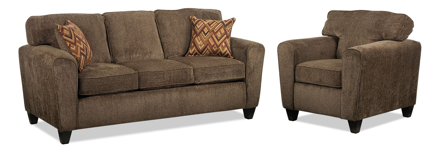 Cornell Sofa and Chair Set - Brown