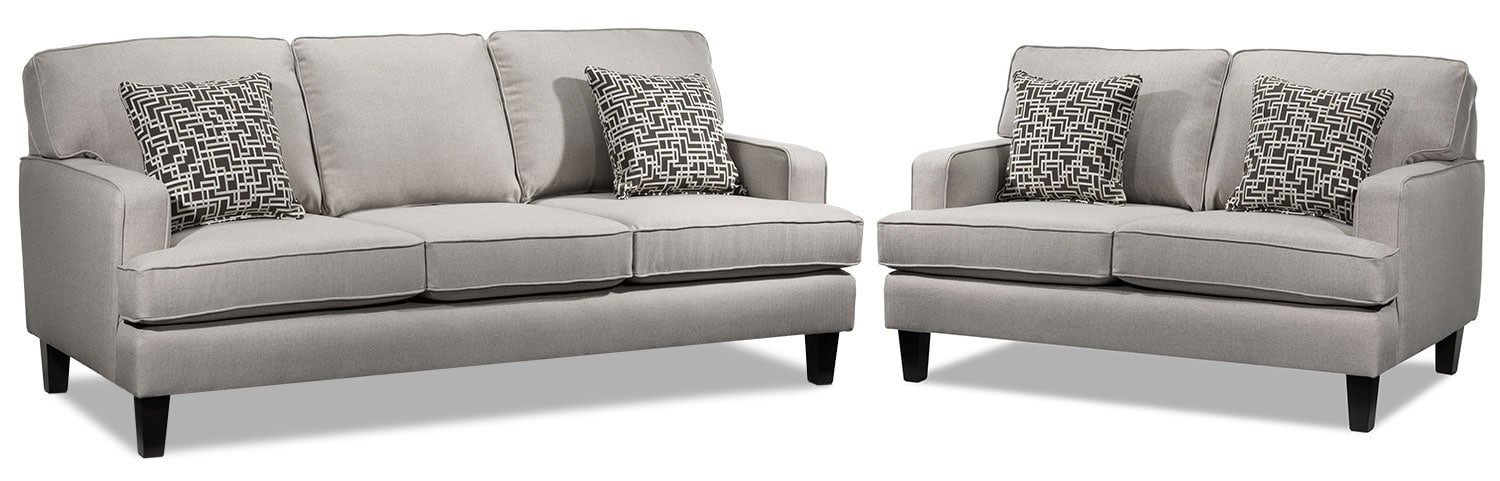 Jango Sofa and Loveseat Set - Taupe