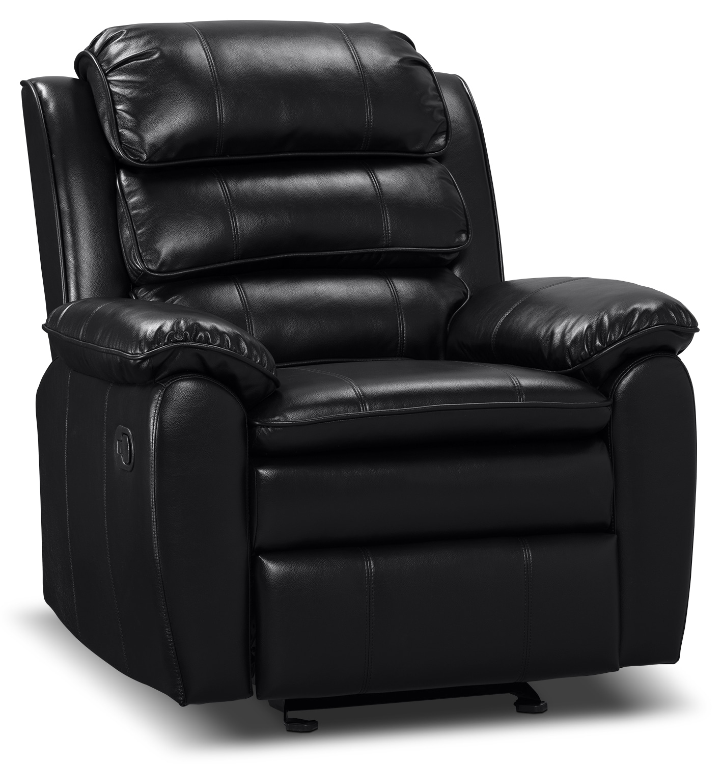 Living Room Furniture - Adam Leather-Look Fabric Reclining Glider Chair – Black