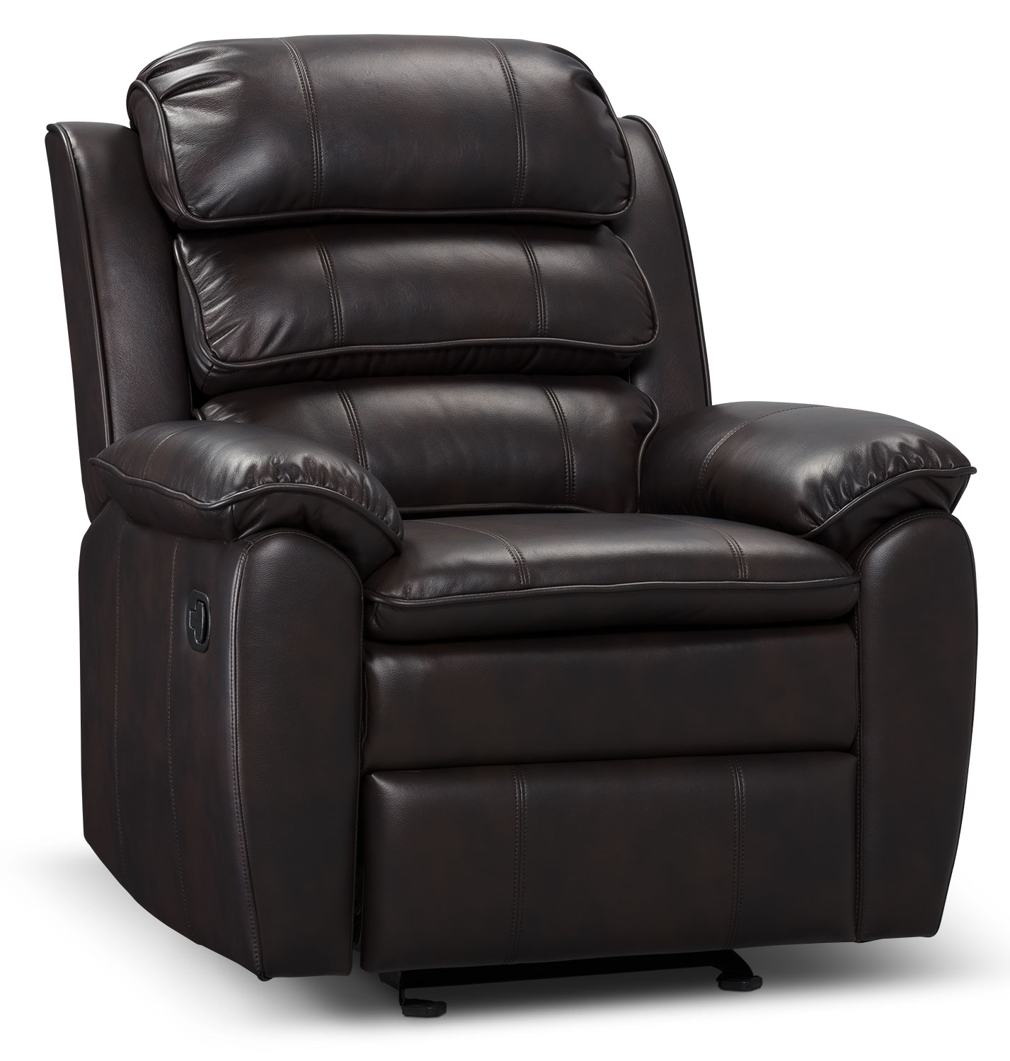Living Room Furniture - Adam Leather-Look Fabric Reclining Glider Chair – Brown