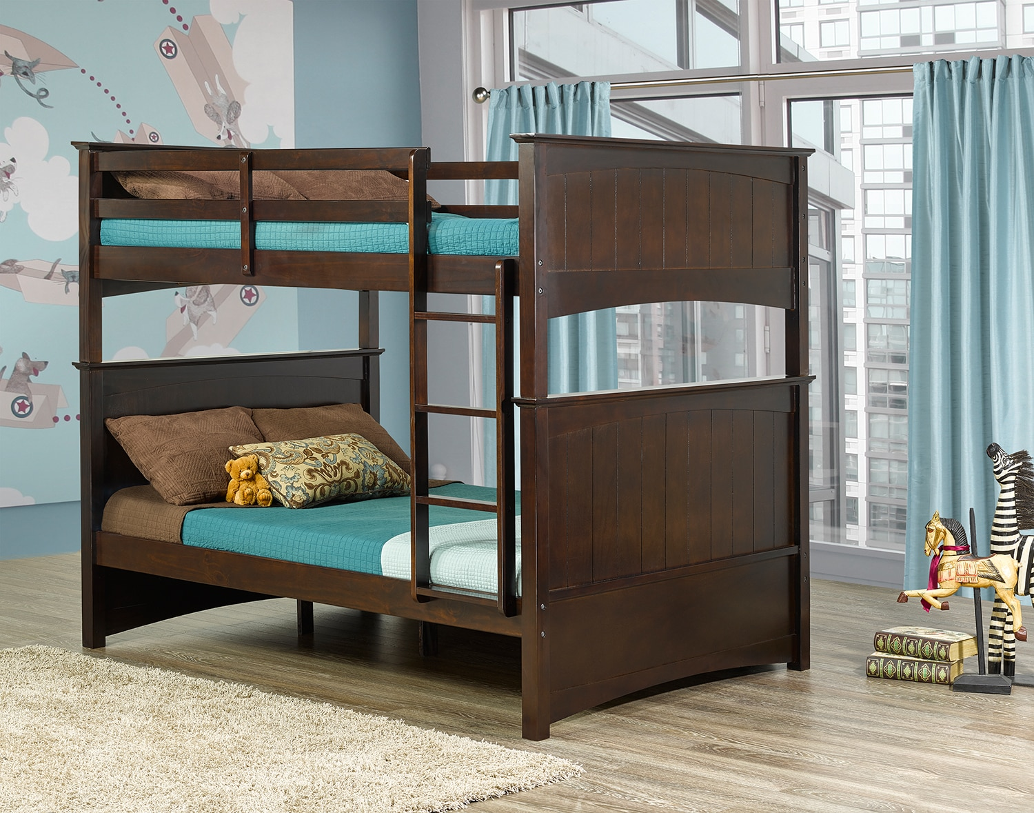 Tyler full over full bunk bed espresso leon 39 s for Furniture 123 bunk beds