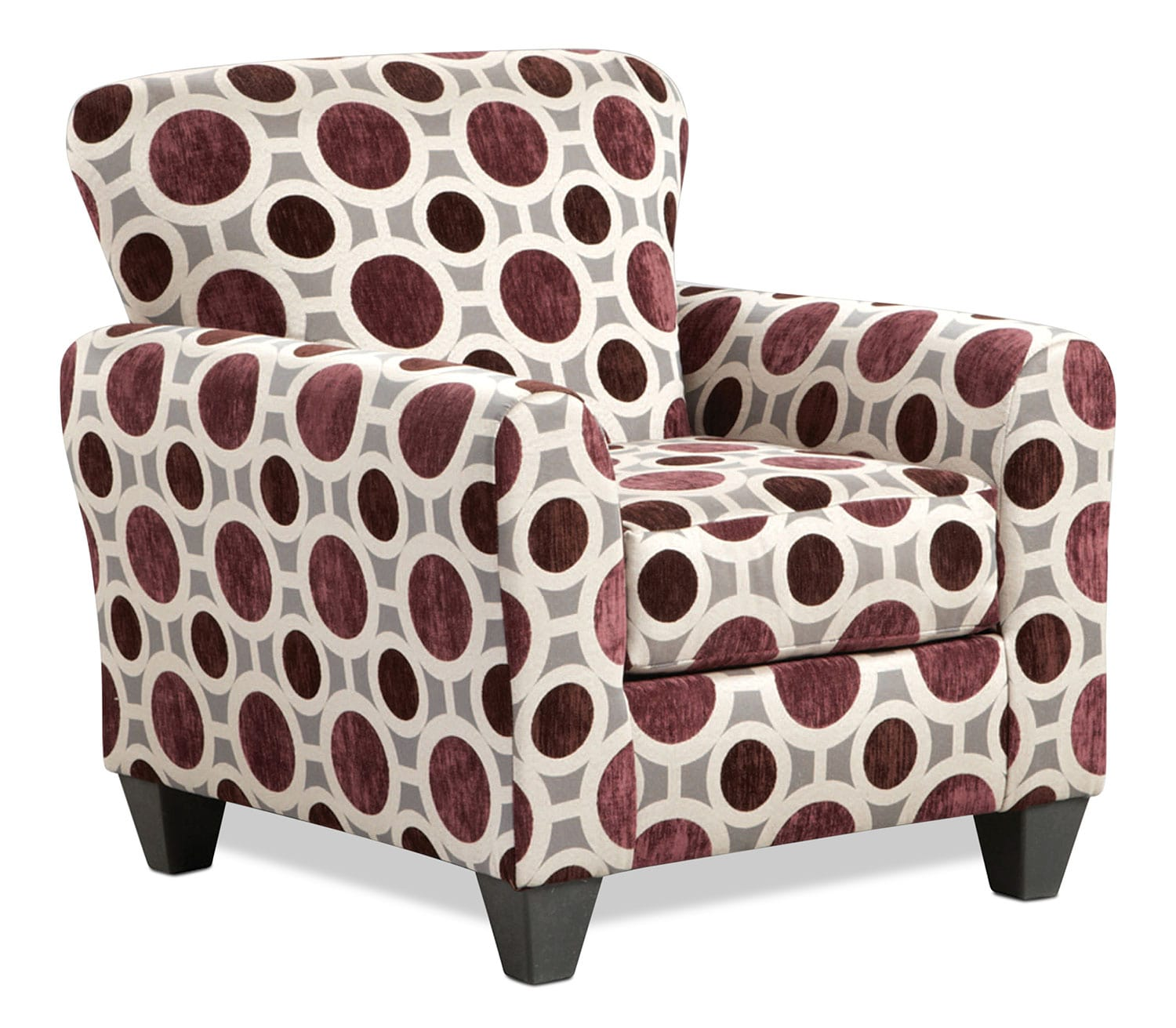 Living Room Furniture - Roseville Accent Chair - Geometric Mulberry