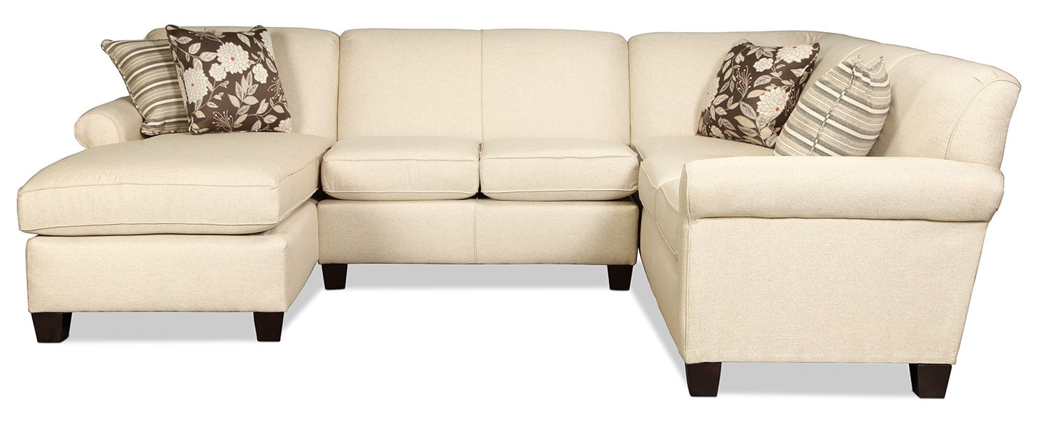 Harding 3 piece sectional linen levin furniture for Levin furniture sectional sofa
