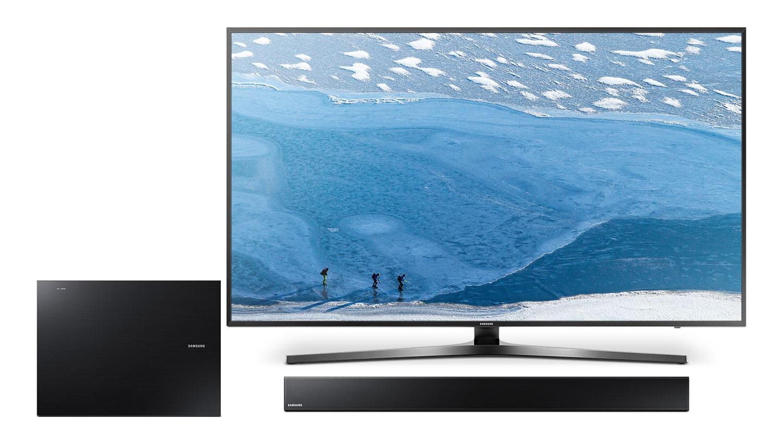 "Samsung 55"" KU7000 UHD Television, Soundbar and Wireless Subwoofer Package"