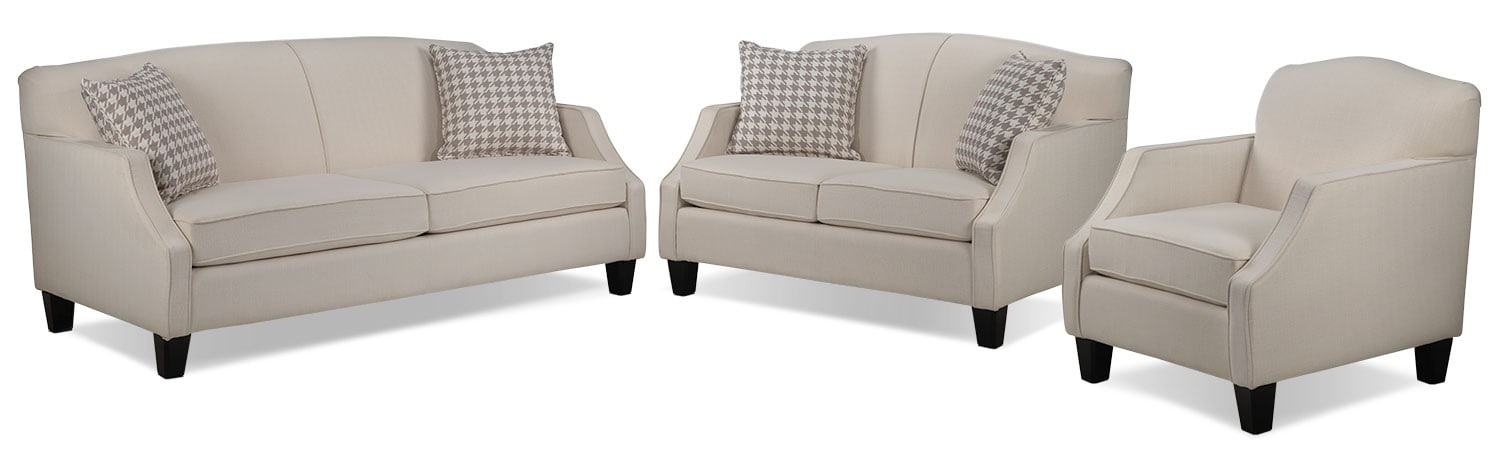 Klein Sofa, Loveseat and Chair Set - Ivory