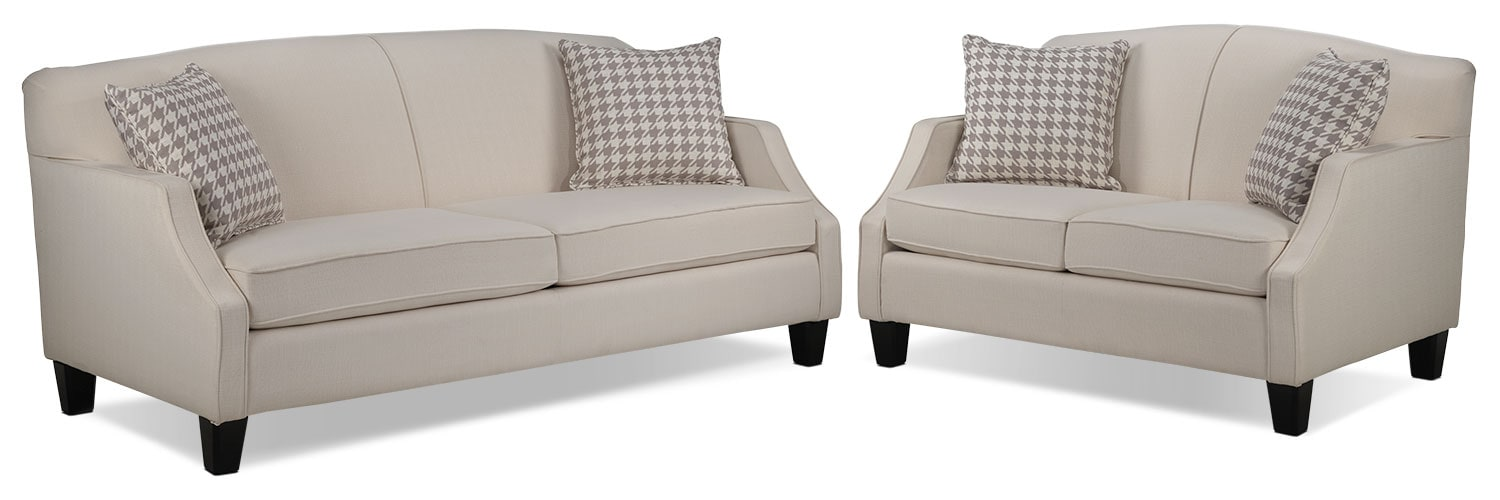 Klein Sofa and Loveseat Set - Ivory
