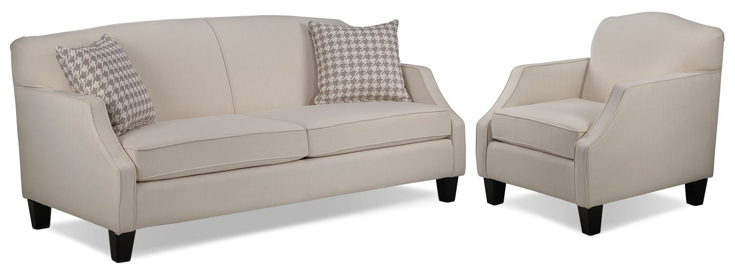 Klein Sofa and Chair Set - Ivory