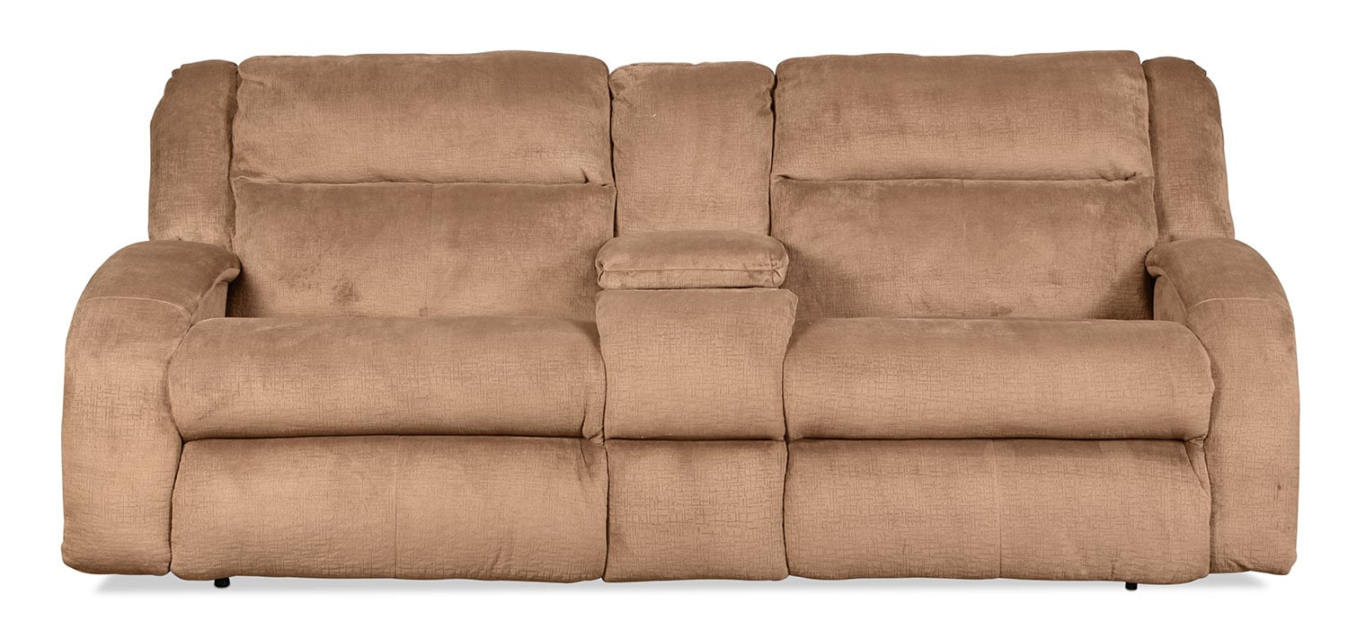 Living Room Furniture - Rigby Reclining Loveseat with Console - Mocha