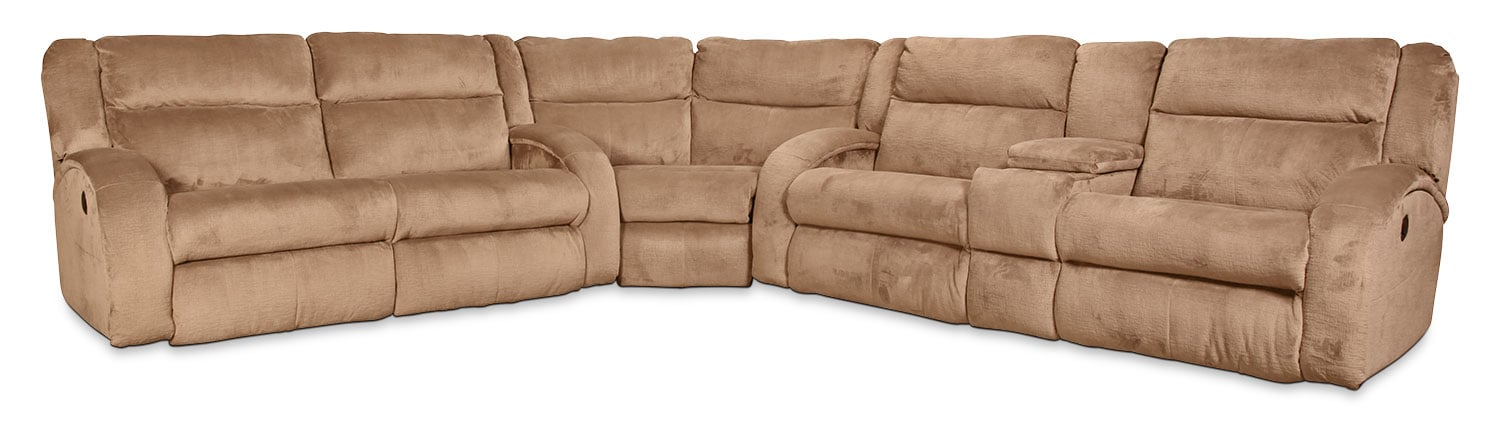 Living Room Furniture - Rigby 3-Piece Reclining Sectional - Mocha