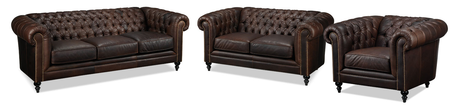 Charleston Sofa, Loveseat and Chair Set - Brown