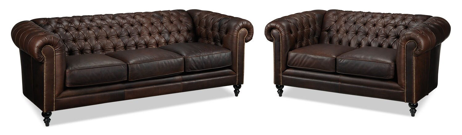 Charleston Sofa and Loveseat Set - Brown