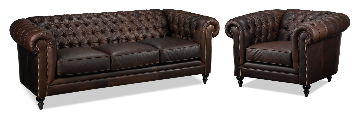 Charleston Sofa and Chair Set - Brown