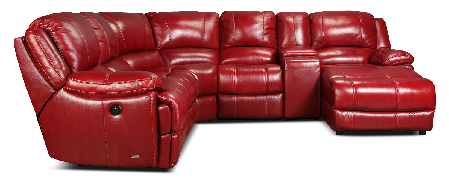 Living Room Furniture - Kiron 7-Piece Power Reclining Sectional - Red