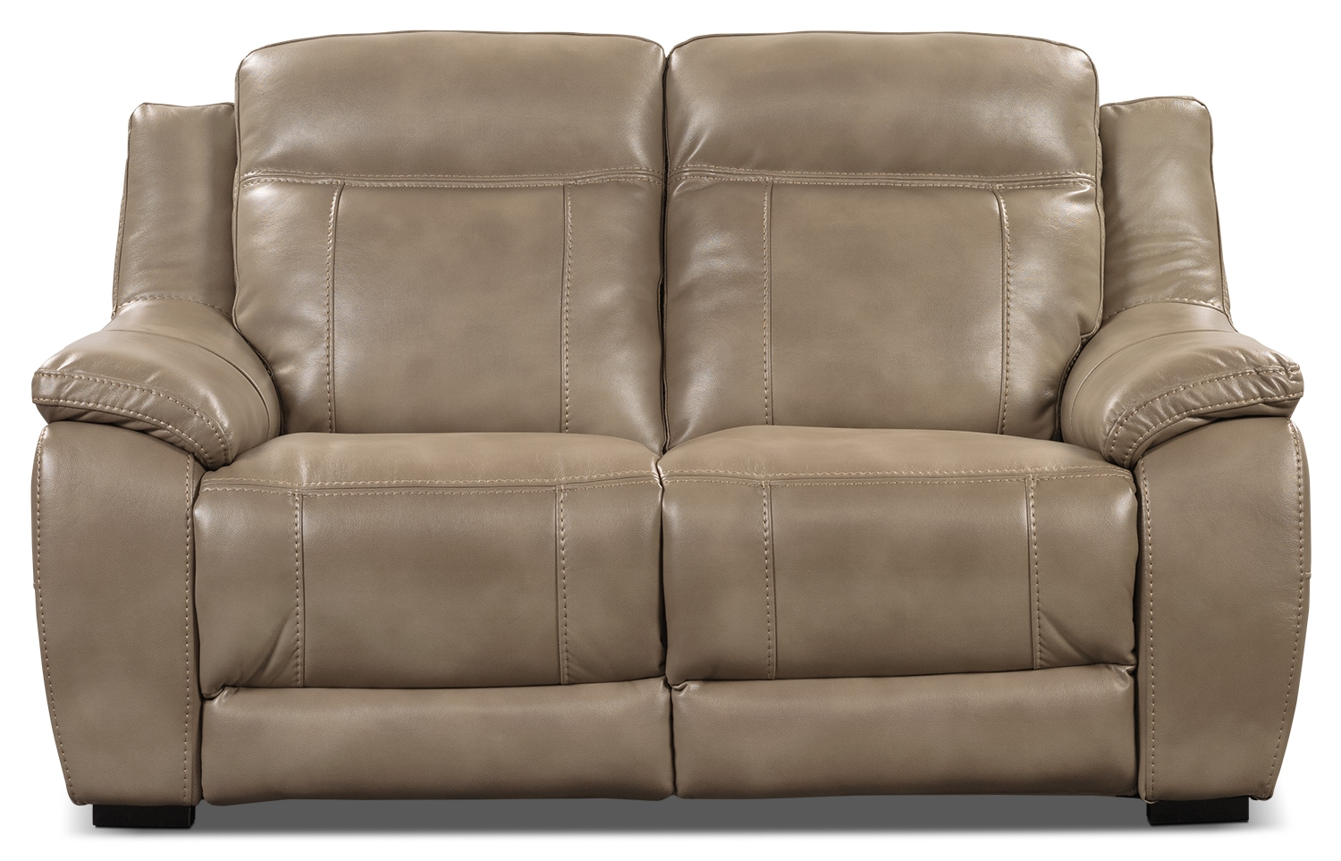 Living Room Furniture - Novo Leather-Look Fabric Loveseat – Taupe