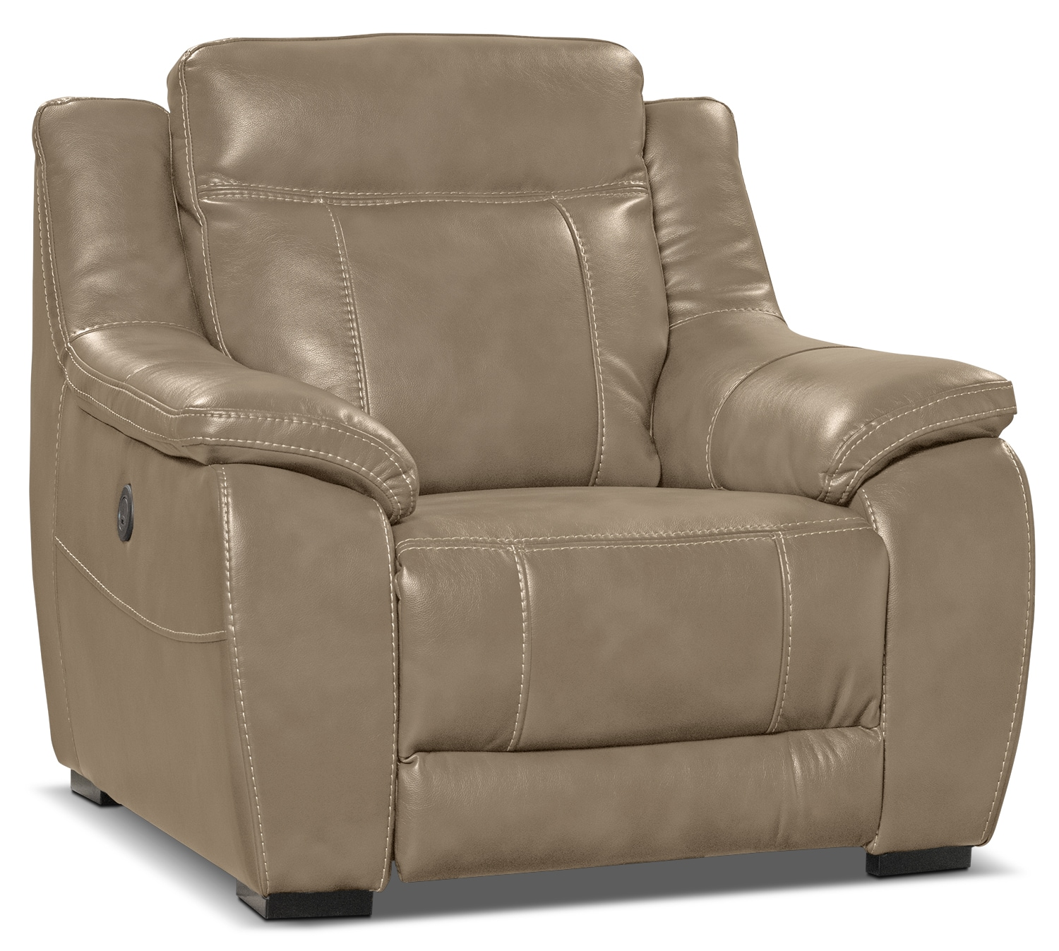 Living Room Furniture - Novo Leather-Look Fabric Power Reclining Chair – Taupe