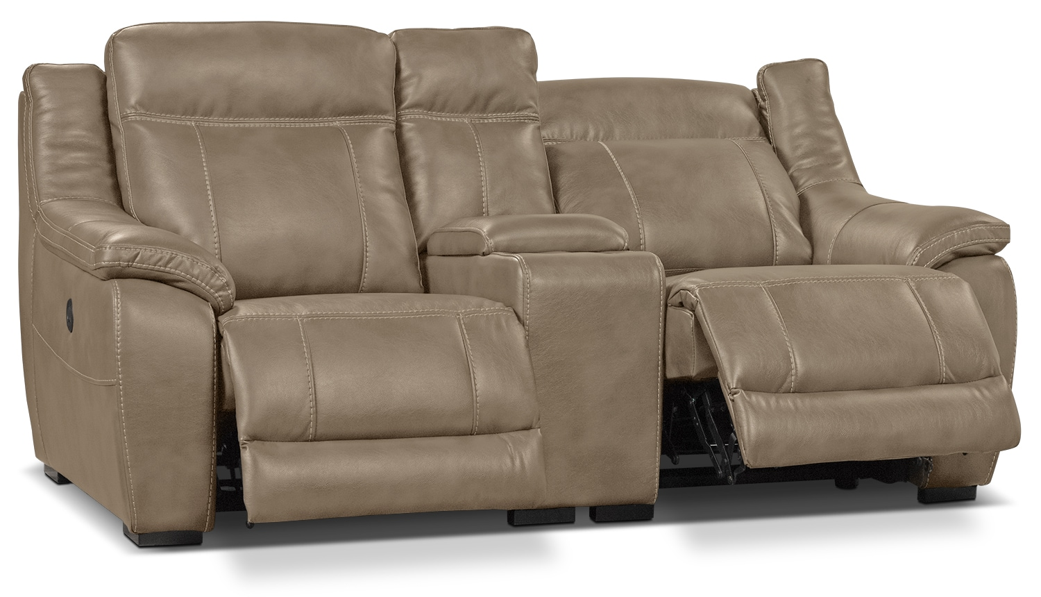 Novo Leather Look Fabric Power Reclining Loveseat Taupe The Brick