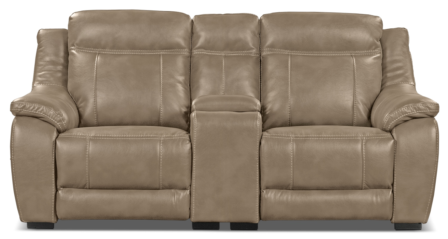 Living Room Furniture - Novo Leather-Look Fabric Power Reclining Loveseat – Taupe