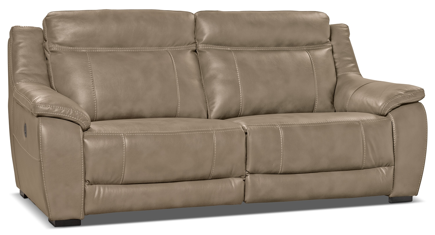 Novo Leather Look Fabric Power Reclining Sofa Taupe
